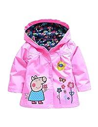 LEMONBABY Little Girls Peppa Pig Raincoat Hoodies Waterproof Breathable Rain Jackets