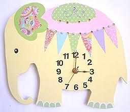 Nursery Clock, Elephant Wall Clock, Nursery Elephant Wall Clock, Nursery Clock, Kid\'s Room Wall Clock (Yellow)