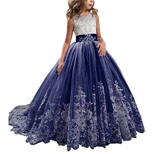 Princess Navy Long Girls Pageant Dresses Kids Prom Puffy Tulle Ball Gown US 4