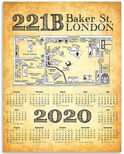 2020 Calendar - Sherlock Holmes 221B Baker Street - 11x14 Unframed Calendar Art Print - Great Vintage Home Calendar, Also Makes a Great Gift Under $15