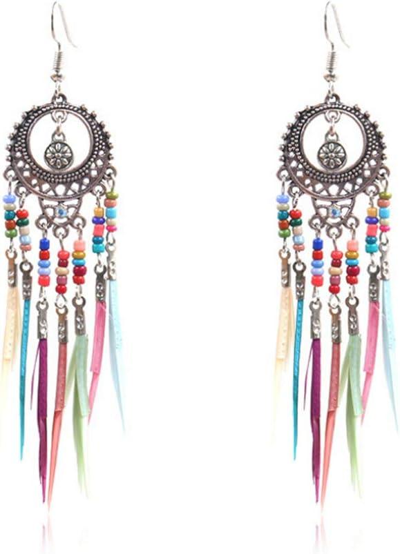 Amorar Pendientes de mujer vintage huecos, multicolor, plumas, plumas de arroz, borlas, pendientes largos