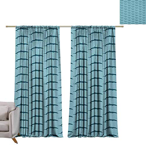 berrly Window Curtain for Living Room Dolphin,Ocean Fauna Collection Dolphin Silhouette with Blue Color Scheme Abstract, Pale Blue Dark Blue W96 x L96 Art Darkening Curtains Collection Decorative Shower Trim Ring