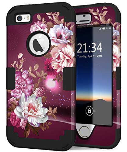 Hocase iPhone SE Case, iPhone 5s Case, Heavy Duty Shockproof Protection Hard Plastic+Silicone Rubber Bumper Dual Layer Full-Body Protective Phone Case for iPhone SE/5s/5 - Royal Purple/White Flowers (Best Iphone 5s Cases For Protection And Style)