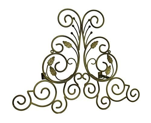 (Zeckos Bronze Finish Leaf Scroll Metal Drapery Crown/Wall Plaque 23 in.)