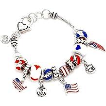 USA Charm Bracelet Z8 Red White Blue Murano Glass Beads American Flag
