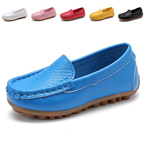 L-RUN Boy's Girl's Casual Loafer Shoes Online Synthetic Leather Slip-On Sneakers Blue 9.5 M US Toddler