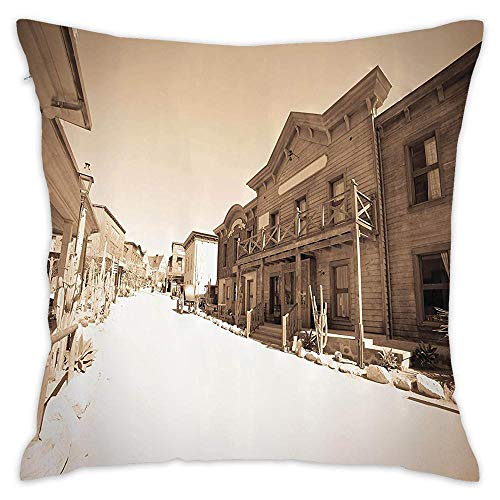 Podas Big Vintage Photo of far West Town Cowboy Village Historical Wooden Building Picture Pattern Decorative Pillow Case Throw Pillows Covers for Couch/Bed 18 X 18 Inch -