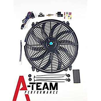 """A-Team Performance 140041 16"""" Heavy Duty 12V Radiator Electric Wide Curved S Blade FAN & Thermostat Kit, 3000 CFM Reversible Push or Pull with Mounting Kit"""