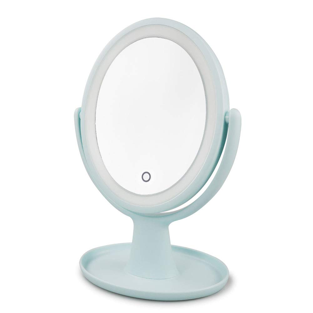 Vanity Mirrors, 360 Degree Swivel1x 5x Magnifying Double Sided Lighted Makeup Mirrors with Natural White LED Lights, Blue