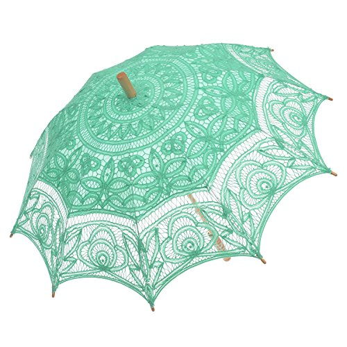 Remedios(19 colors) Lace Parasol Umbrella for Wedding Bridal Decoration Light Green