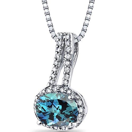 Revoni Bague en or blanc 14carats Diamant Alexandrite Pendentif coupe ovale 1,5carats au total