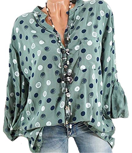 Col Chic Manches Pois Chemisier Casual Longues Femme Sexy 5XL Shirt YOGLY Blouse Tops Vert Chemisier Mode Boutonn S AOXctqO1
