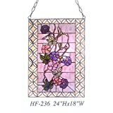 HF-236 Vintage Tiffany Style Stained Glass Church Art Colourful Flowers Window Hanging Glass Panel Suncatcher, 24''x18''