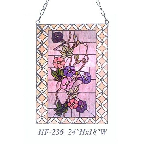 HF-236 Vintage Tiffany Style Stained Glass Church Art Colourful Flowers Window Hanging Glass Panel Suncatcher, 24''x18'' by Gweat Window Hanging