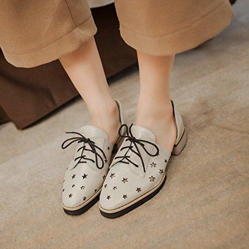 Carolbar Donna Lace Up A Forma Di Stella Trafitto Moda Popolare Casual Sandali Tacco Basso Scarpe Oxford Beige