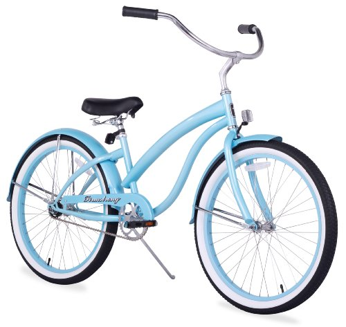 Girls Beach Cruiser Bikes - Firmstrong Bella Classic Single Speed Beach Cruiser Bicycle, 24-Inch, Baby Blue