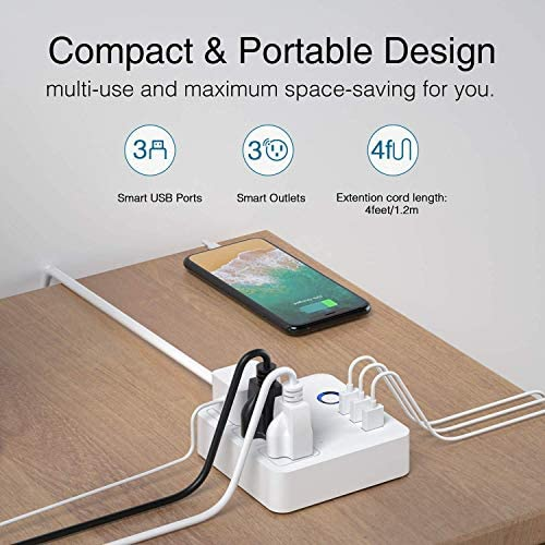 Gosund Smart Power Strip Works with Alexa Google Home, Smart Plug USB WiFi Surge Protector Multi Outlet Extender, 4ft Extension Cord, 3 USB 3 Charging Ports for Home Office Desk Tablets 10A, White