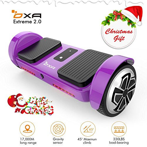 OXA Hover board UL 2272 Certified Intelligent easy controlled hoverboard with LED Light and 17km Super Long Range in Purple with Two Model Intelligent Self-balance System by OXA