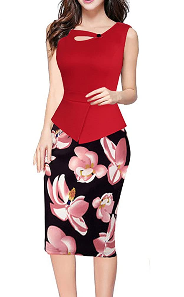 Women's Keyhole Neck Floral Print Peplum Bodycon Formal Dress US 4-18