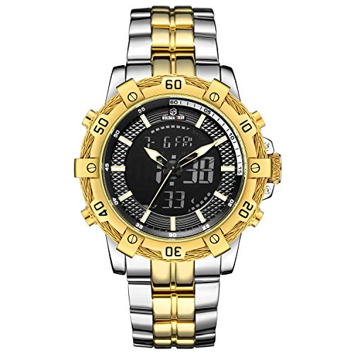 - Tamlee Men's Military Watches Sport Digital Analog Multifunctional Chronograph Waterproof Two-Tone Stainless Steel Bracelet Silver Gold Watch