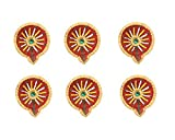 Set of 6 Handmade Decorative Diwali Clay Diyas For Diwali Decorations Terracotta Earthen Clay Oil Lamps Diwali Gifts