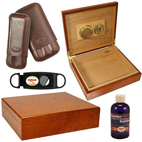 Set Cigar Humidor Tampa / Cuban Crafters Cigar Cutter / Case Cigar Sienna (Humidor Cuban Crafters)