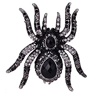 YACQ Women's Spider Pin Brooches + Pendants 2 in 1 – Scarf Holders – Lead & Nickle Free – 2-1/4 x 2-1/4 Inches – Halloween Costume Accessories