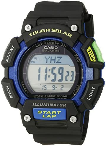 Casio Men s STL-S110H-1BCF Tough Solar Runner Digital Black and Blue Watch