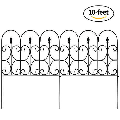 Amagabeli Decorative Garden Fence Outdoor Coated Metal Rustproof 32in x 10ft Landscape Wrought Iron Wire Border Folding Patio Fences Flower Bed Fencing Barrier Section Panels Decor Picket Edging Black (Fence Parts Iron)