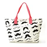 Soft Cotton Canvas Shopping Tote Bag with Mustache Screen Prints (coral), Bags Central