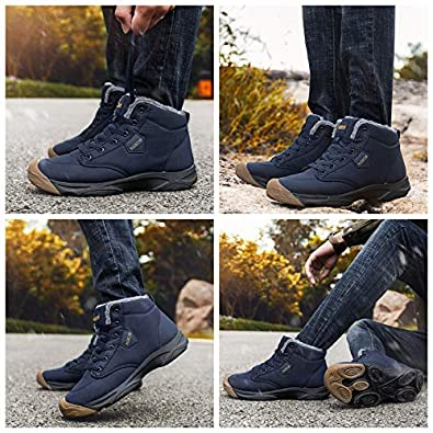 Eagsouni Mens Snow Boots Womens Warm Fur Lined Ankle Booties Non-Slip Lightweight Outdoor Winter Hiking Shoes