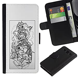 ZCell / Samsung Galaxy S3 III I9300 / Floral Grey Woman Petal Black White / Caso Shell Armor Funda Case Cover Wallet / Floral Gris Mujer Pé