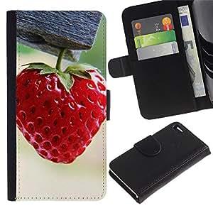 JackGot ( fragola ) Apple Apple iPhone 4 / iPhone 4S la tarjeta de Crédito Slots PU Funda de cuero Monedero caso cubierta de piel