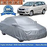 Autofact Premium Silver Matty Triple Stitched Car Body Cover with Mirror Pocket for Toyota Innova (2000 to 2016)