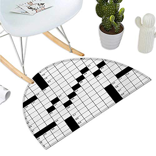 Word Search Puzzle Semicircular Cushion Blank Newspaper Style Crossword Puzzle with Numbers in Word Grid Entry Door Mat H 51.1