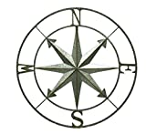 Zeckos Metal Wall Sculptures Galvanized Metal Indoor/Outdoor Compass Rose Wall Hanging 28 Inch 28.25 X 28.25 X 1 Inches Silver For Sale