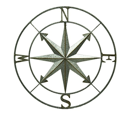 Metal Wall Sculptures 318-72217 Galvanized Metal Indoor/Outdoor Compass Rose Wall Hanging 28 Inch 28.25 X 28.25 X 1 Inches Silver (Outdoor Metal Wall Hangings)