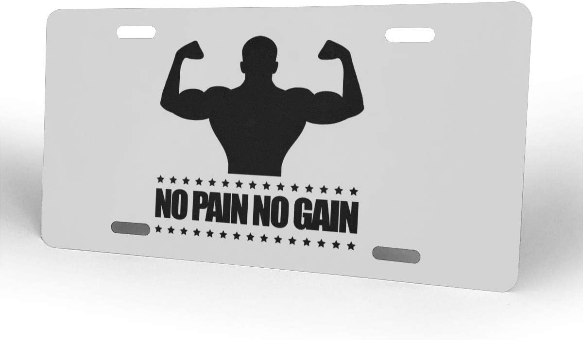 Body Building No Pain No Gain License Plate Front License Sign Car Tag Decorative Metal Plate