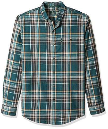 G.H. Bass & Co. Men's Madawaska Long Sleeve Button Down Plaid Shirt, Legacy Deep Teal Heather F2017, ()