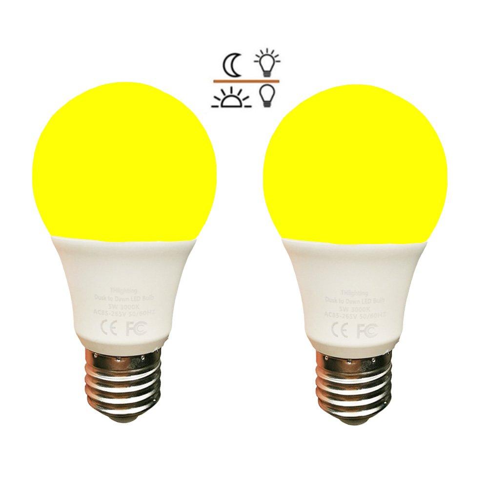 Amber Yellow LED Bug Light Bulb Dusk to Dawn 5W LED Light Bulb 40 Watt Equivalent Light Sensor Bulb Sensor Light Security Bulb with Photosensor Detection E26 2 Pack(5W-Amber Yellow)