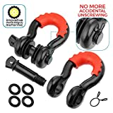 """Motormic D Ring Shackles 2pc - 3/4"""" Clevis Shackle with 7/8"""" Pin - Max 57,000 lbs Break Point - 2 Red Isolators and 8 Black Washers - Heavy Duty DRing for Tow Strap, Winch, Off Road, Jeep towing"""