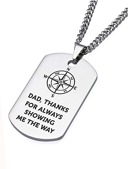 Gifts for Sons from Dad Mom Stainless Steel Dog Tag Necklace Inspirational Necklaces JUST DO Your Best