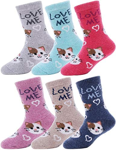 3 Pairs Girls Turn Over Thermal Socks Children Teen Warm Socks Mix Colours New