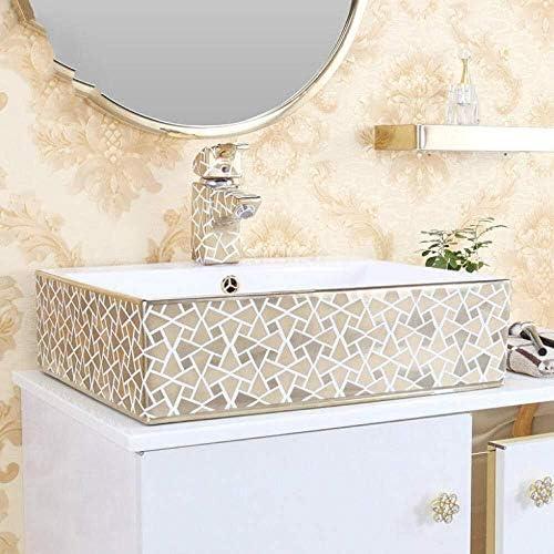 ヨーロッパスタイルの浴室の虚栄心の中国アートカウンタートップセラミックハンド洗面キャビネットの浴室のシンク長方形