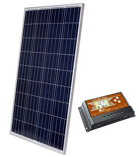 LightCatcher Solar 100 Watt Solar Panel Kit, Polycrystalline Solar Panel PWM Charge Controller