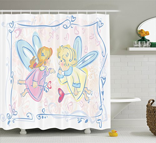 Blue Yellow Fabric (Ambesonne Teen Girls Decor Collection, Adorable Little Angels Blond Fairytale Magical Princess Heart Shapes Image, Polyester Fabric Bathroom Shower Curtain Set with Hooks, Blue Pink Yellow)