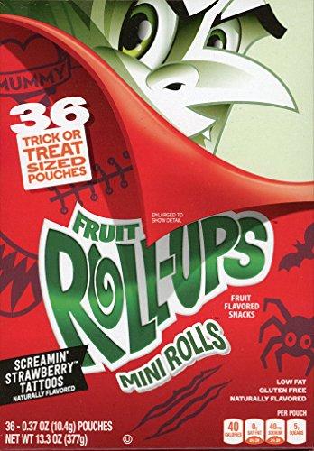 (Betty Crocker Fruit Roll-ups Mini Rolls Screamin' Strawberry Tattoos Fruit Flavored Snacks, 0.37 Oz, 36)