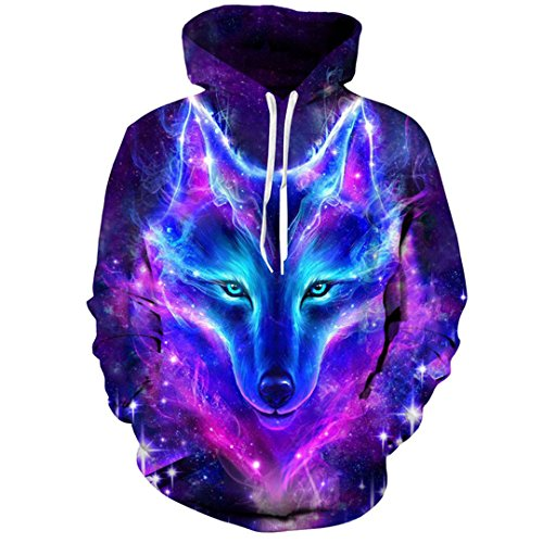 Space Galaxy Wolfs Men Women Spring Autumn Pullover Sweatshirts 3D Tracksuit by MSYI