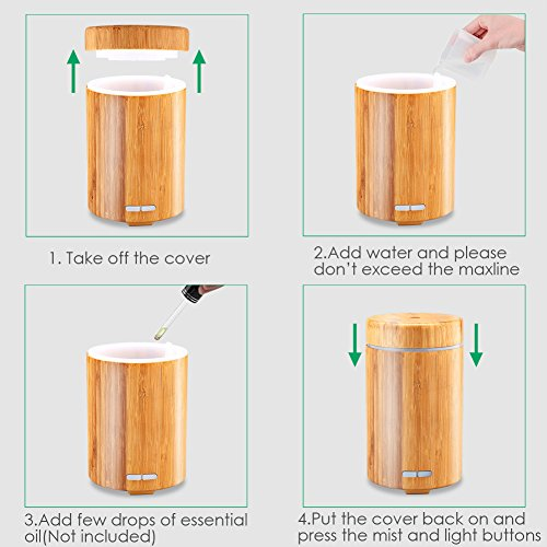 Large Product Image of URPOWER Real Bamboo Essential Oil Diffuser Ultrasonic Aromotherapy Diffusers Cool Mist Aroma Diffuser with Adjustable Mist Modes, Waterless Auto Shut-off, 7 Color LED Lights for Home Office