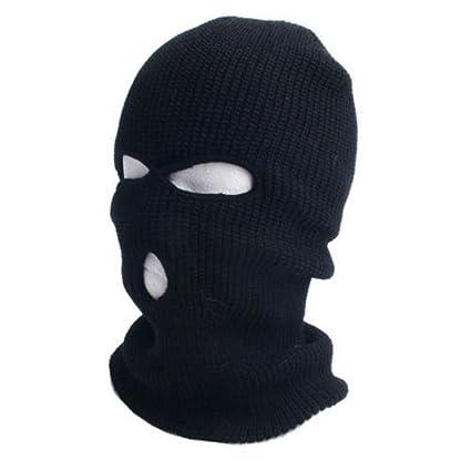 Balaclava Face Mask Black Wool Blend  3 Hole Warm Winter Ski Snowboard Hat Cap